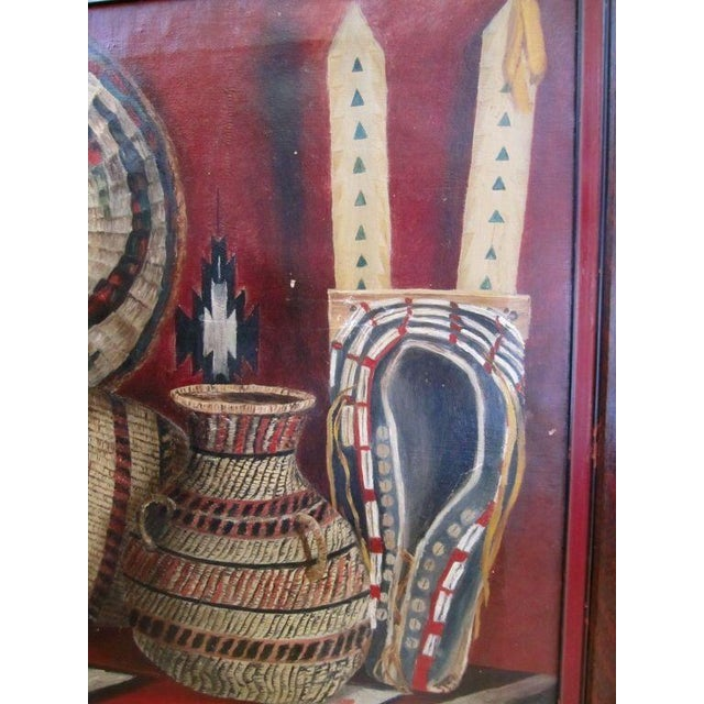 1950s Native American Basketry Painting For Sale - Image 5 of 7