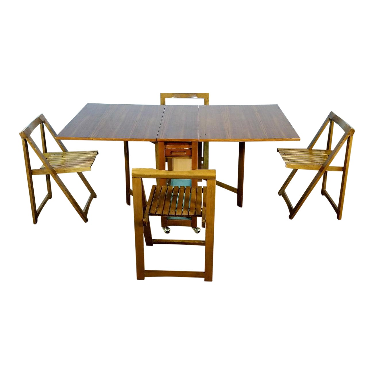 Mid-Century Vintage Hideaway Table With 4 Chairs - Dining Set   Chairish