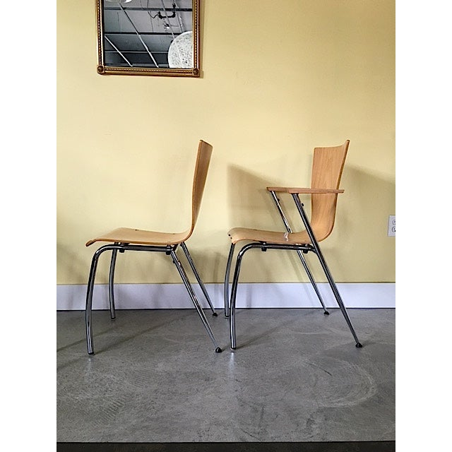 Bauhaus Arne Jacobsen Style Bent Wood Chairs - Set of 4 For Sale - Image 3 of 6