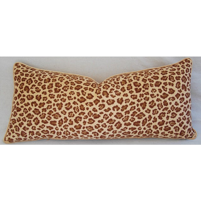 This is a large custom tailoed lumbar body pillow in a vintage/never used, ultra-soft woven velvet and chenille blend...