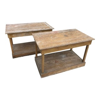 Antique Southern Primitive Work Tables - a Pair For Sale