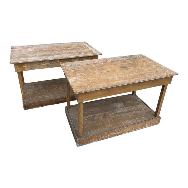 Antique Southern Primitive Work Tables - a Pair For Sale