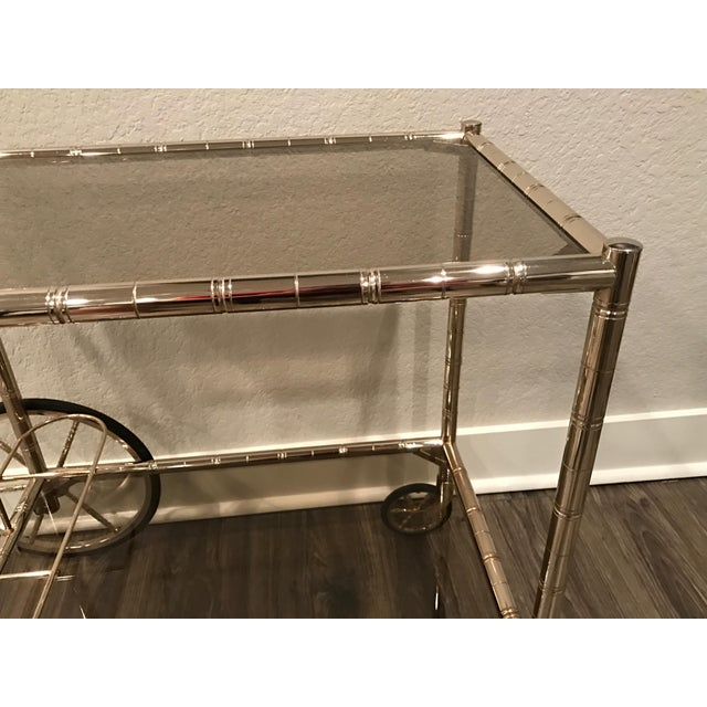 European Bar Cart With Bamboo Accents - Image 7 of 8