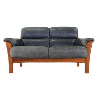 Leather and Solid Teak Mid-Century Modern Danish Loveseat Preview