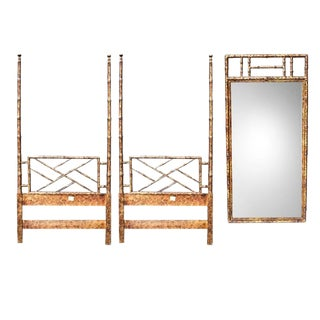 Hollywood Regency Two Faux Bamboo Twin Bed Headboard Set and Mirror in Tortoise Shell by Henredon - 3 Pieces For Sale