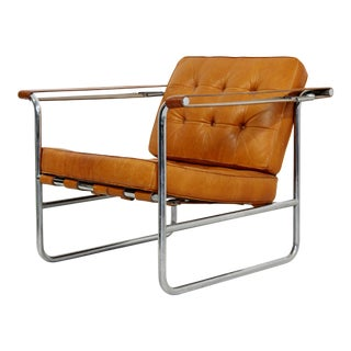 Mid-Century Modern Kurt Thut Stendig Leather Chrome Chair 1970s, Scandinavian