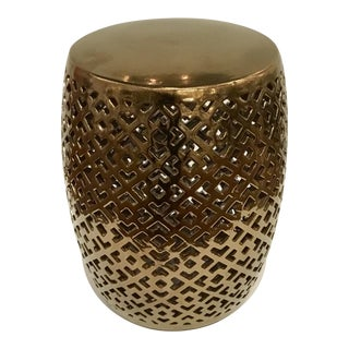 Bronze Metalic Glazed Garden Stool For Sale