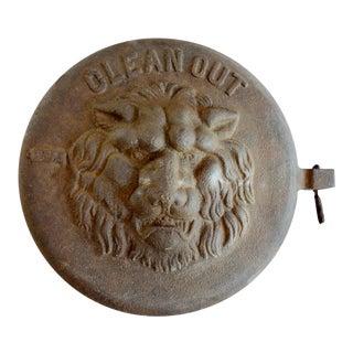 Antique Cast Iron Lion's Face Ash Pit Door For Sale
