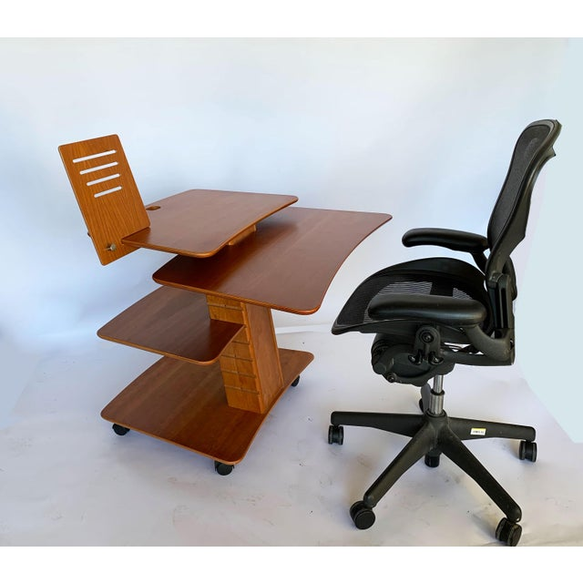 Danish Modern Aksel Kjesgaard of Denmark Teak Mid-Century Adjustable Desk on Casters For Sale - Image 3 of 12