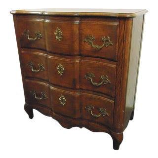 Baker Louis XV Style Oak Serpentine Commode For Sale