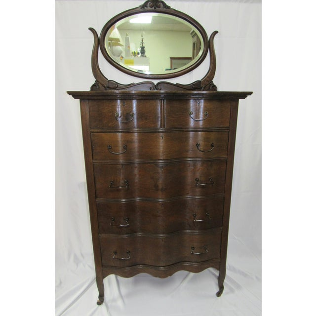 1900s Traditional Oak Highboy Dresser With Mirror For Sale - Image 12 of 12
