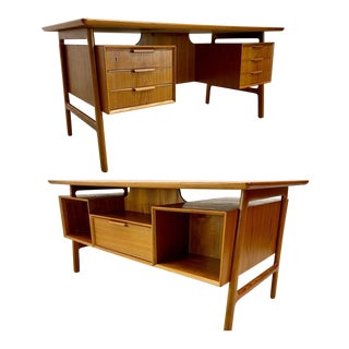 Danish Modern Gunni Omann Double Sided Floating Executive Desk For Sale