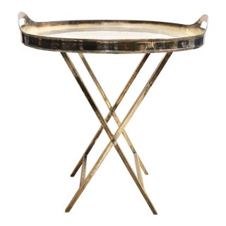 Silver-Plated Folding Tray Table For Sale