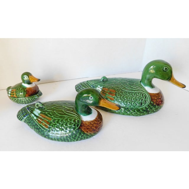 Vintage Green Majolica Mallard Duck Covered Condiment Dishes- Set of 3 For Sale - Image 13 of 13