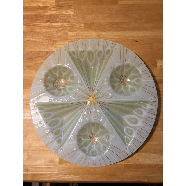 Rare Higgins Art Glass Vintage White Peacock Tray - Image 2 of 5