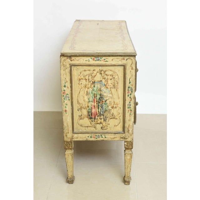 Figurative italian Neoclassic Painted an Parcel Gilt Two-Drawer Commode, Piedmontese For Sale - Image 3 of 7