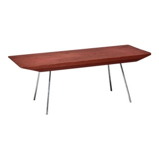 Pine and Aluminum Rectangular Coffee Table, Usa For Sale