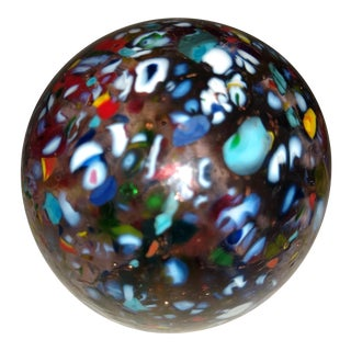 Vintage Small Confeti Themed Murano Blown Glass Paperweight For Sale
