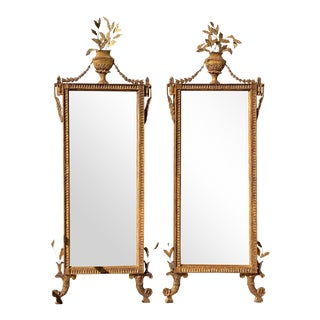 Italian Neoclassic Giltwood Mirrors - a Pair For Sale