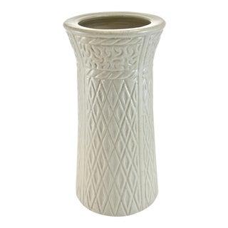 Geometric Textured Stoneware Vase