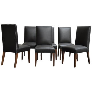 Set of 6 Custom Leather Vaughn Dining Chairs by Bjork Studio For Sale