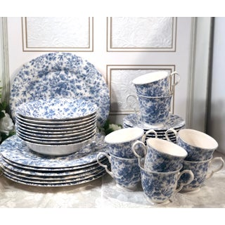 Vintage Nikko Blossomtime Blue Floral Roses 5 Piece Place Setting - Set of 39 Preview