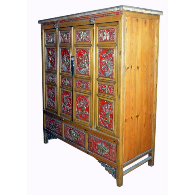 Gold 19th Century Chinese Qing Dynasty Wooden Armoire With Hand-Carved Gilt Panels For Sale - Image 8 of 13