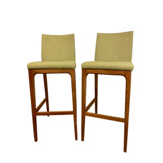Vintage Mid-Century Modern Wood Bar Stools- A Pair For Sale