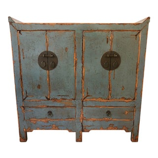 Teal Blue Chinese Distressed Lacquered Cabinet For Sale