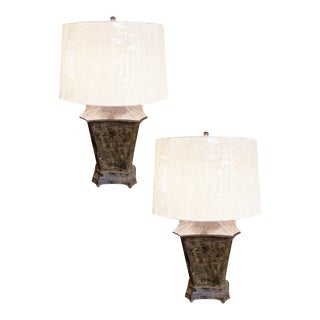 Pair of Vintage Painted Tole Lamps For Sale