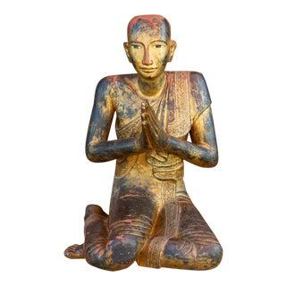 "19th Century Burmese Praying ""Maudgalyayana"" For Sale"