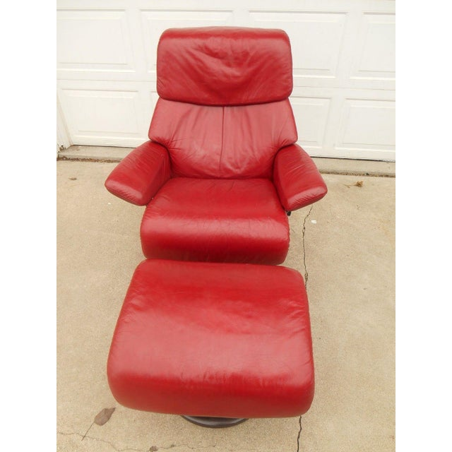 Ekornes Stressless Dream Red Leather Chair With Ottoman For Sale - Image 7 of 11