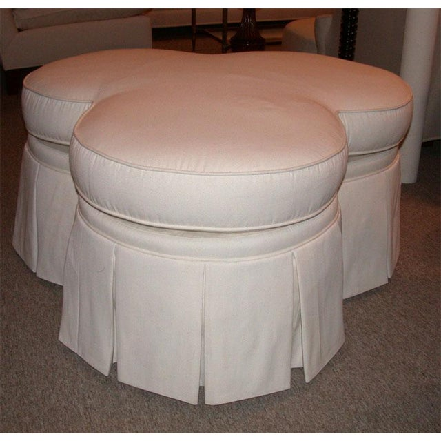 Ivory Clover Shaped Ottoman or Coffee Table - Image 8 of 8