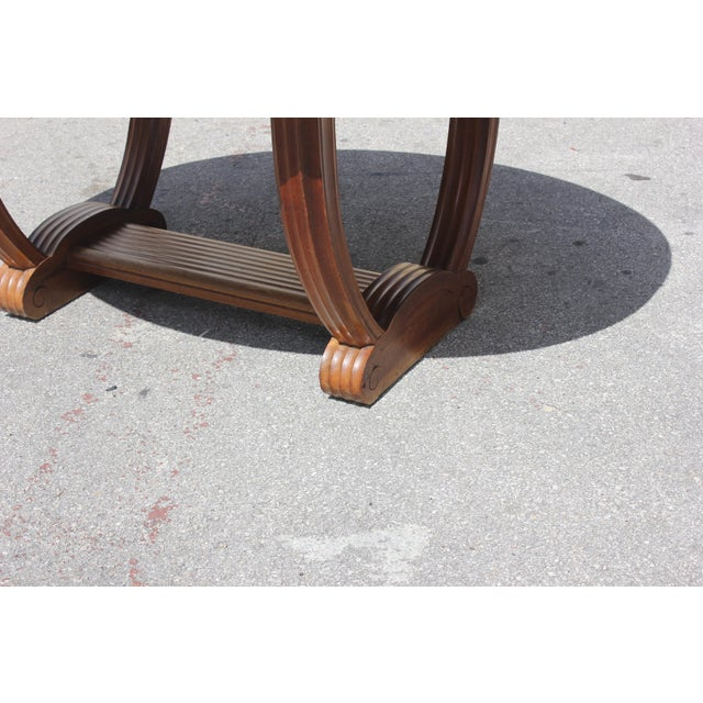 French Art Deco Solid Walnut Oval Dining Table ''U'' Legs Base Circa 1940s For Sale - Image 10 of 13