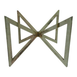 1970s Mid-Century Modern Intersecting Brass Plated Triangles Coffee Table Base For Sale