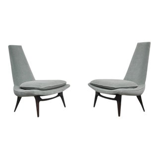 1960s Karpen High Back Lounge Chairs - a Pair For Sale