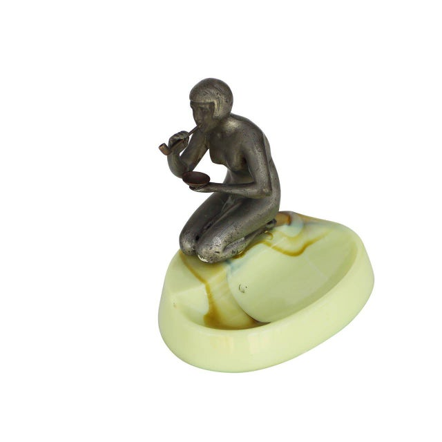 Nude Art Deco Smoking Flapper Slag Glass Ashtray by Houzex - 50th Anniversary Sale For Sale - Image 4 of 7