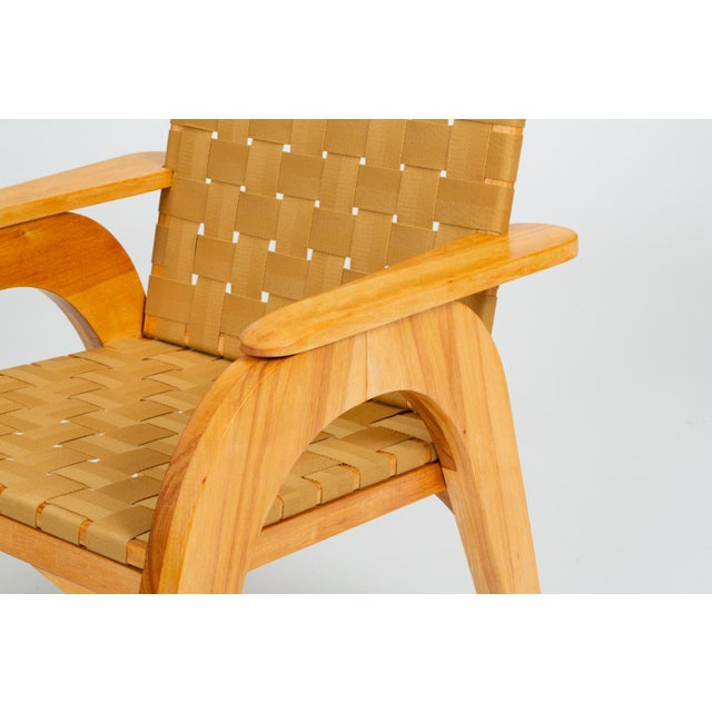 Bauhaus-Style Maple Lounge Chair With Nylon Webbed Seat For Sale - Image 9 of 12