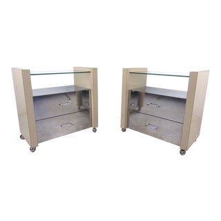 Pair of Vintage Modern Mirrored Nightstands For Sale