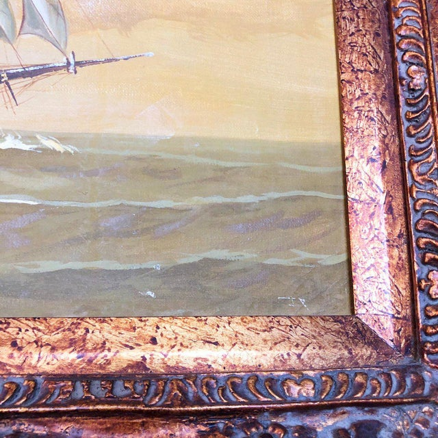 Gray 1960s Vintage Captain and Ship Nautical Framed Original Painting For Sale - Image 8 of 9