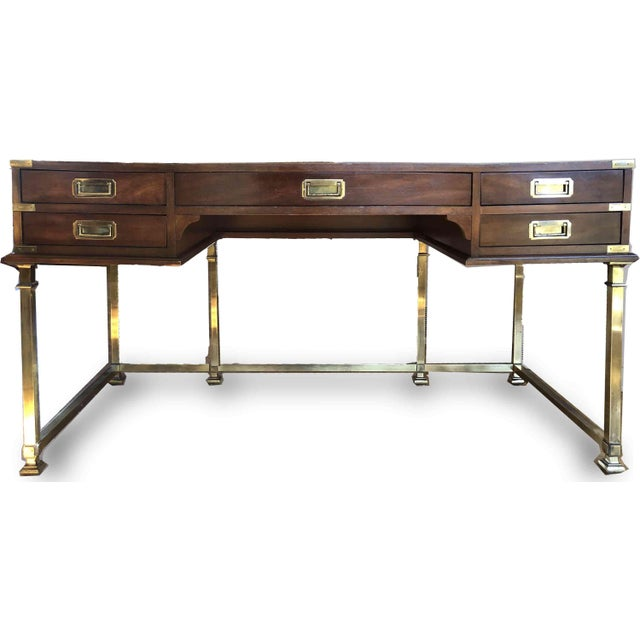 Sligh-Lowry Furniture Co. 1970s Campaign Sligh Mahogany Brass & Leather Writing Desk For Sale - Image 4 of 12