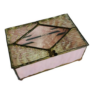 Vintage Stained Pink Glass with Etched Butterfly Jewelry Box For Sale