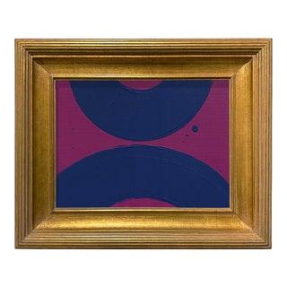 Ron Giusti Mini Wagasa Purple and Navy Acrylic Painting, Framed For Sale