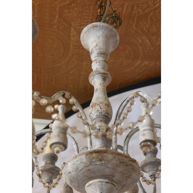 Gray Italian Two-Tier Chandelier Strung with Beads and Tassels For Sale - Image 8 of 8