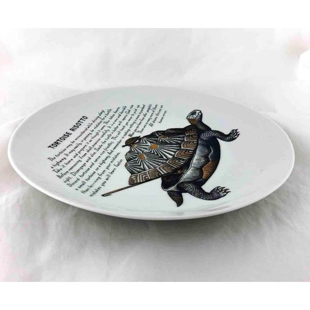 1960s Piero Fornasetti 1960's Tortoise Risotto Improbable Recipe Plate for Fleming Joffe For Sale - Image 5 of 9