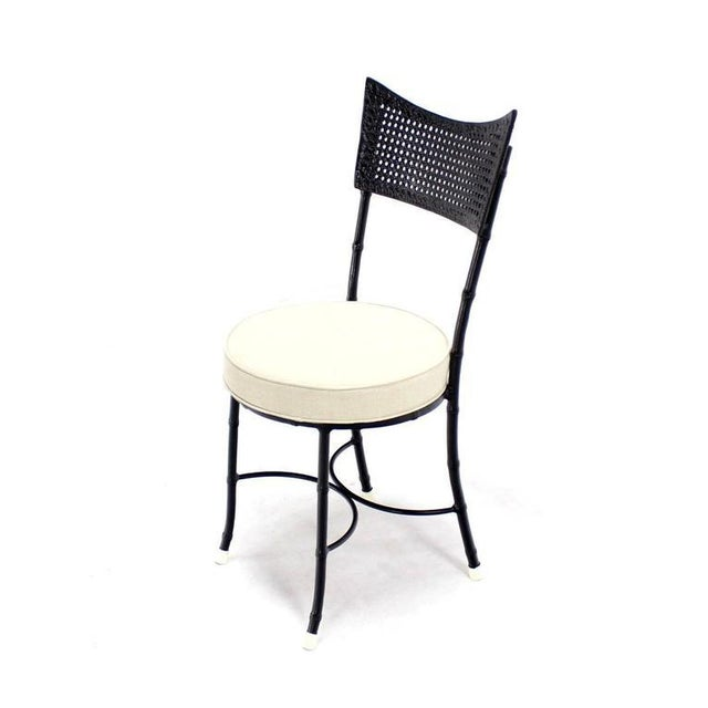 Metal Cast Aluminum Faux Bamboo and Cane Round Seat Chairs - Set of 4 For Sale - Image 7 of 11