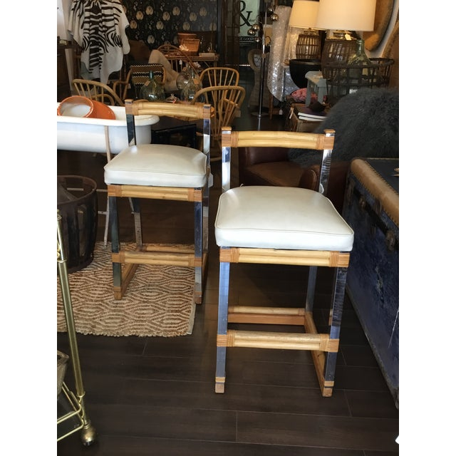 Mid-Century Modern Bamboo Chrome and Leather Counter Stools - a Pair For Sale - Image 13 of 13