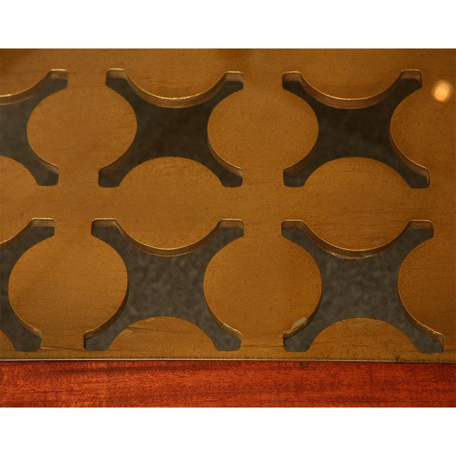 Parzinger Style Classy 50's Mahogany & Giltwood Grille Coffee Table - Image 8 of 13