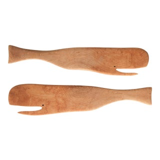 Handmade Wooden Whale Salad Servers For Sale