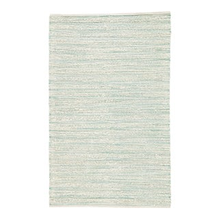 Jaipur Living Canterbury Natural Stripe White/ Turquoise Area Rug - 9' X 12' For Sale